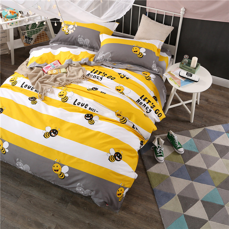 Cartoon stripe children kids bedding sets 100%Pure cotton yellow white bees twin full queen king size duvet cover bed flat sheet