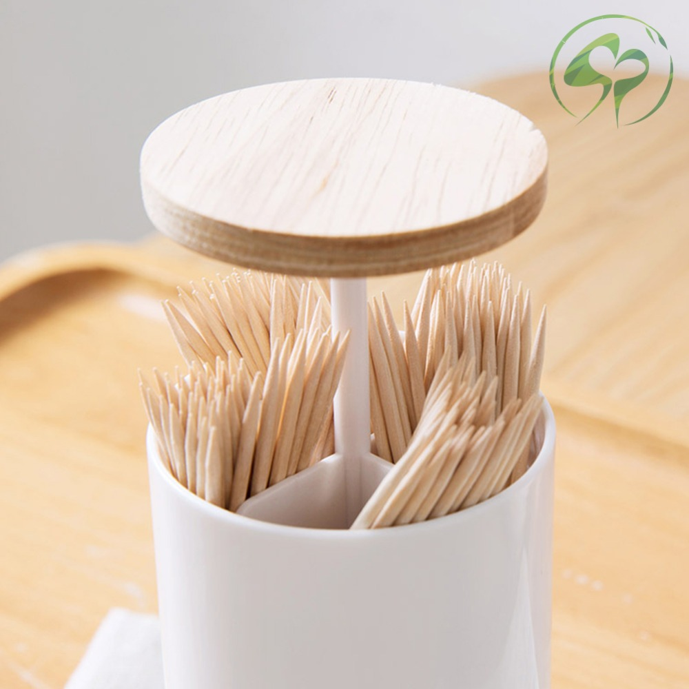 Wooden Cover Toothpick and Cotton Swabs Cartridges Boxes Collection Home Storage Box Round