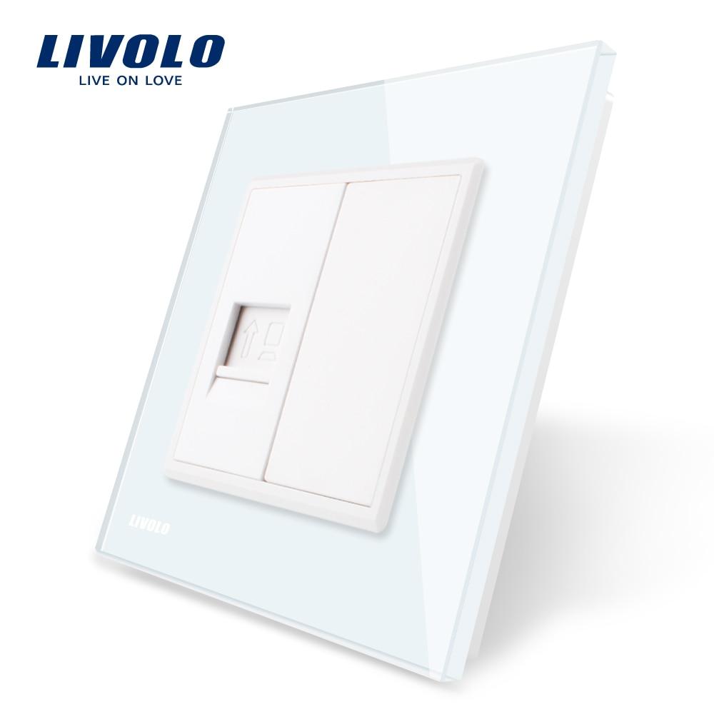 Livolo Panel de cristal blanco, un Gang Computer Socket/Outlet VL-C791C-11, sin adaptador de enchufe