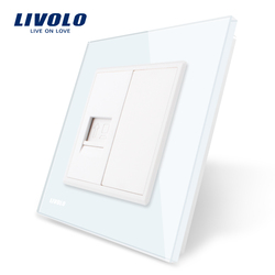 Livolo White Crystal Glass Panel, One Gang Computer Socket / Outlet VL-C791C-11, Without Plug adapter