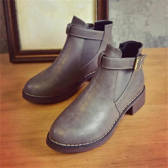 Women Ankle Martin Boots 2018 Autumn Female Casual Shoes Woman Flat Fashion Platform Round Toe Buckle Strap Solid Comfortable 5