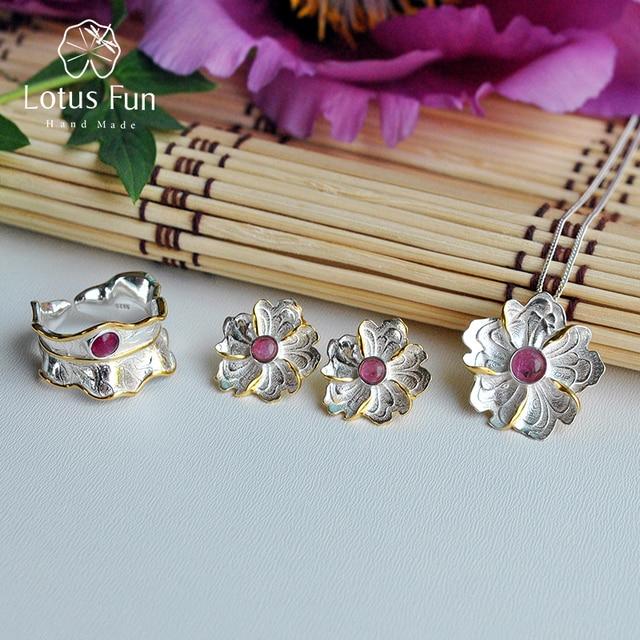 Lotus Fun réel 925 argent Sterling pierre naturelle Original fait à la main bijoux de fleur de pivoine ensemble de bijoux pour les femmes Brincos