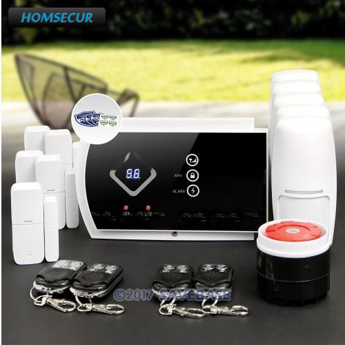 HOMSECUR Wireless GSM SMS Autodial Burglar Intruder Alarm System+PIR+5*Door Sensor цена