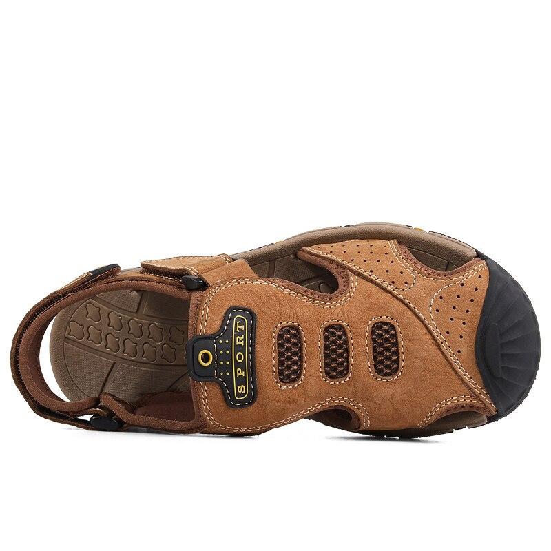 Dos Genuína De Verão Da cáqui dark Ramialali Homens Baixos Homem Praia Vaca Em Deslizamento Sandálias Para Brown Brown Roma Couro Light Casuais Moda Sapatos nWxzg