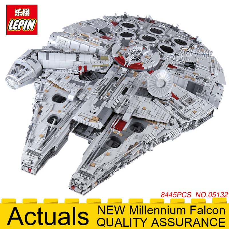 LEPIN 05132 Ultimate Collector Millennium Falcon Star Series Wars Building Blocks Brick toys for children legolys 75192 8445PCS игровой набор mattel star wars tie fighter vs millennium falcon 2 предмета cgw90