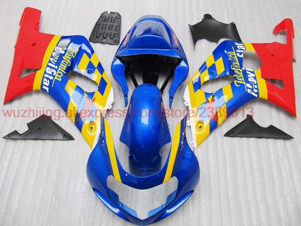 GSXR750 2000-2003 K1 K2 2000 полный обтекатель GSX R 600 750 1000 2002 синий и красный цвета для Movistar полный Наборы тела GSX-R1000 2003
