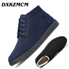 DXKZMCM Men Boots Shoes Fashion Winter Casual Ankle Boots Warm Winter Boots Fur Shoes Leather Footwear