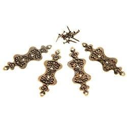 4 sztuk 56*20mm Antique Bronze uchwyt narożny pudełko z biżuterią przypadku drewna dekoracyjne stopy nogi ochraniacz narożny okucia meblowe w/paznokcie