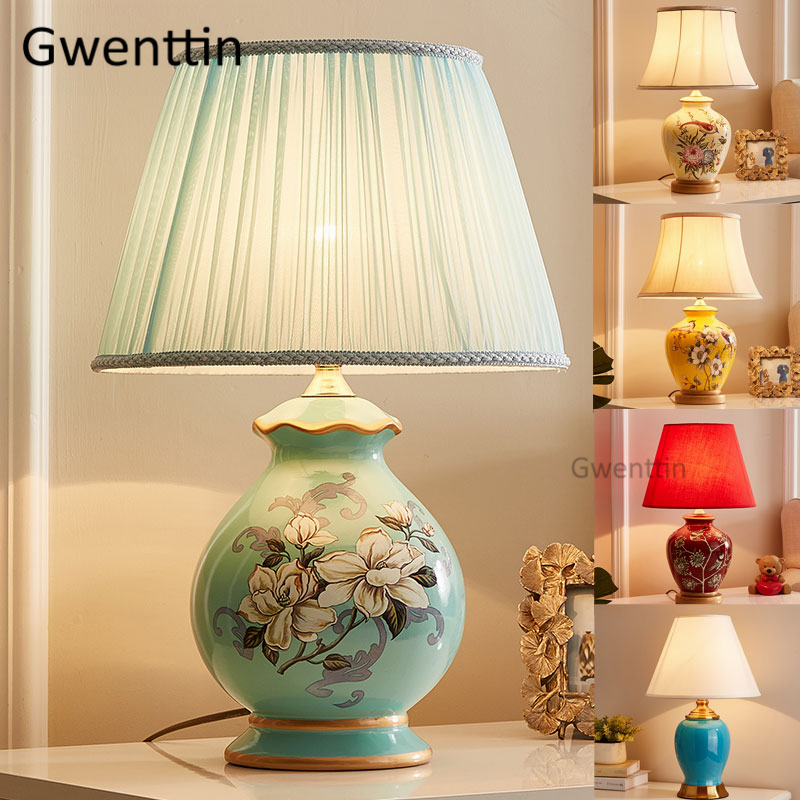 Modern Ceramic Table Lamps Nordic Fabric Led Stand Desk ...