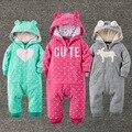 Marca a roupa do bebê Inverno Coral Romper Do Bebê da caxemira de alta qualidade meninos roupas de bebê Com Capuz Infantil Macacão de bebê meninas roupas se