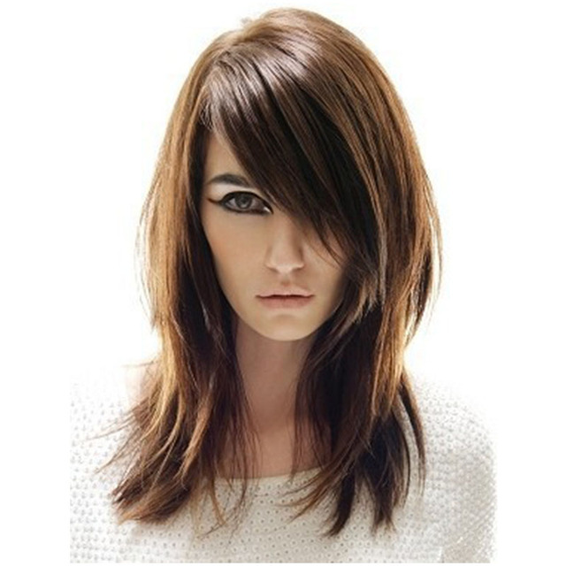 16 Inches Layered Side Parted Long Straight Capless Wigs Salomon Synthetic Hair wigs