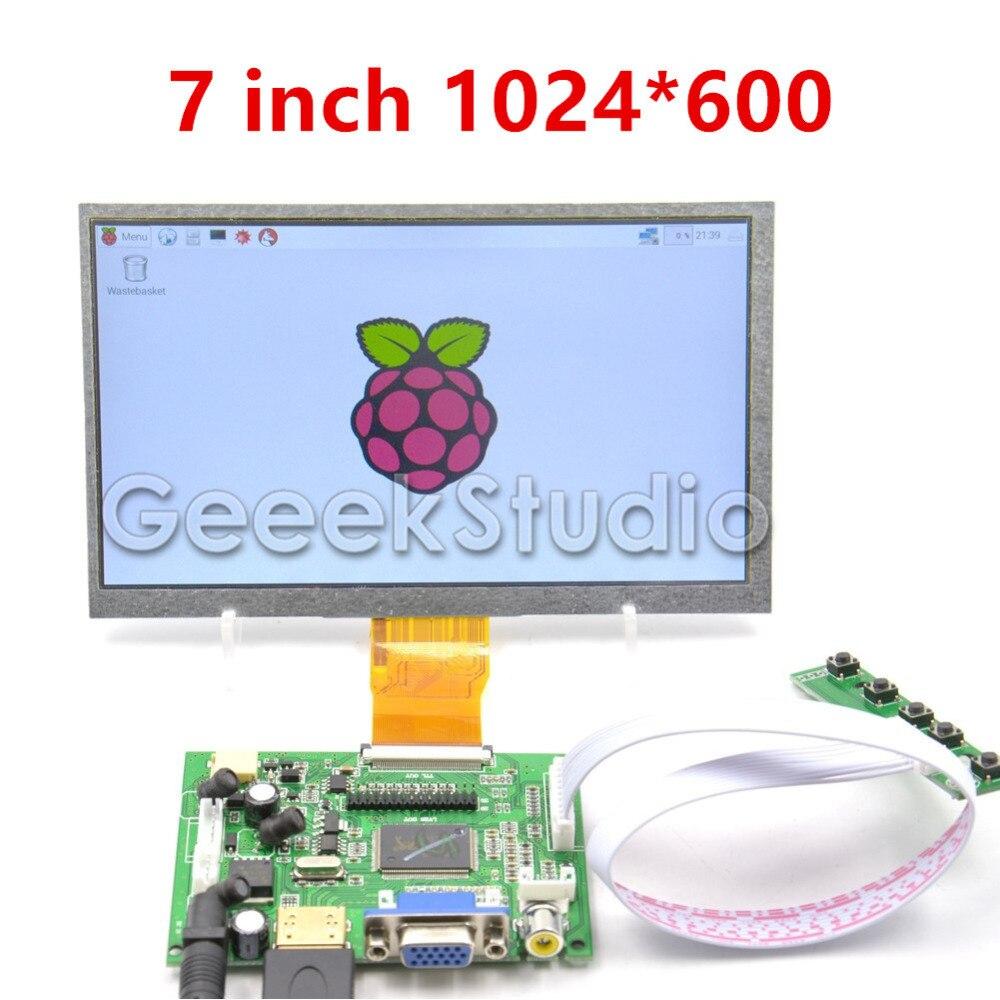 Raspberry Pi 7 дюймов ЖК-дисплей Дисплей 1024*600 TFT Мониторы Экран с приводом борту для Raspberry Pi 2/ 3 Модель B
