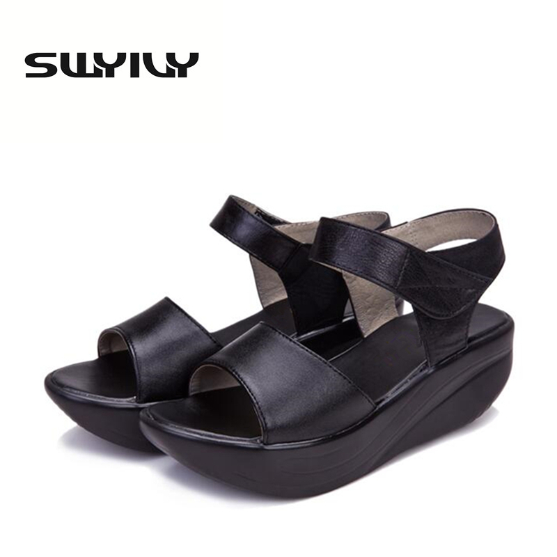 Sneakers Slimming  Leather Size Comfortable Toning Women Shoes Increase Summer Swing Thick Height Plus SWYIVY Hook-loop 43 Soles 1