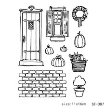 ZhuoAng Pumpkin House Rubber Clear Stamps and Cutting Dies Set for Scrapbooking Photo Album Card Making DIY Decoration Supp
