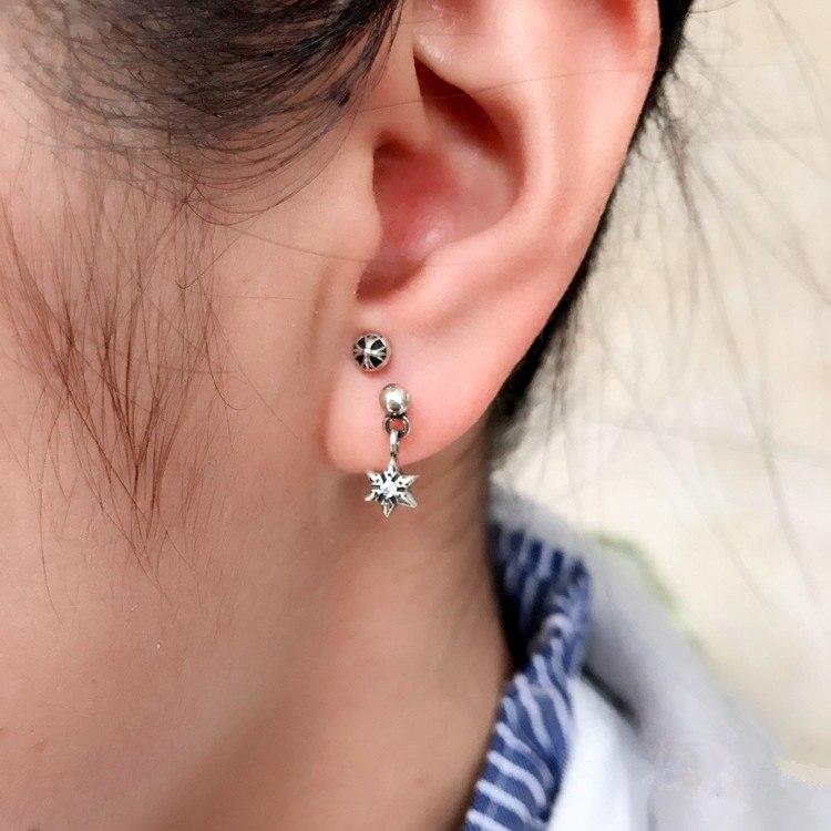 Vintage Silver 925 Star David Mini Pendant Drop Earring Men Women Pink Black Clear Stone 100 Real Sterling Jewelry In Earrings From