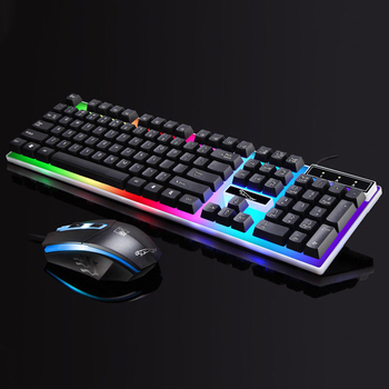 Rainbow Backlit Home Office Gaming For PC Laptop ABS Ergonomic USB Powered Waterproof Stylish Keyboard Mouse Set Led Wired