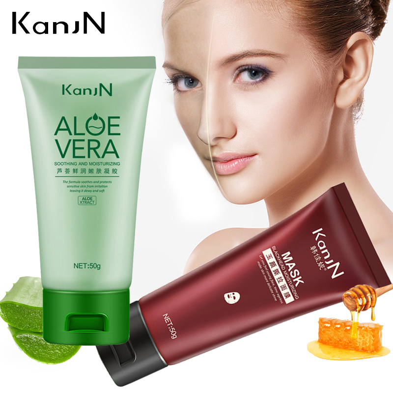 Soothing And Moisturizing Aloe Vera+Face Care Removes Blackhead Mask Oil-Control Facial Cream Acne Treatment Beauty Face Cream