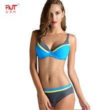 PNT027 Summer Women Sexy Push Up Bikini Set High Waist Underwire Plus Size Swimsuit Hit The Color Designer Mature Biquinis