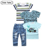 Vendita al dettaglio 2017 nuovo vestiti del bambino di estate dei ragazzi vestiti 4 pz. Manica corta T-Shirt Ragazzo Auto Quattro T-Shirt Jeans Vestito ST254