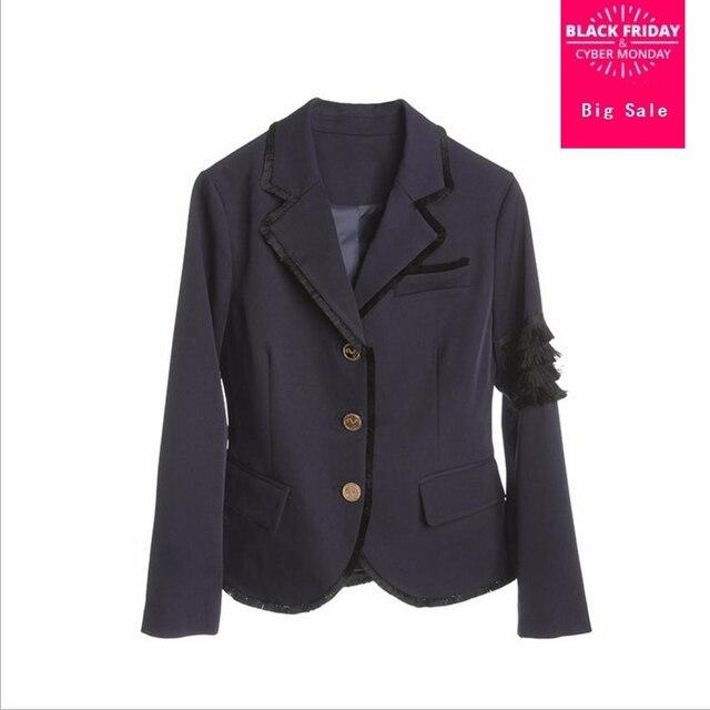 European Grand 2018 fashion new Korean Slim blazer suit women simple and stylish tassel stitching Blazer & Suits wj1917