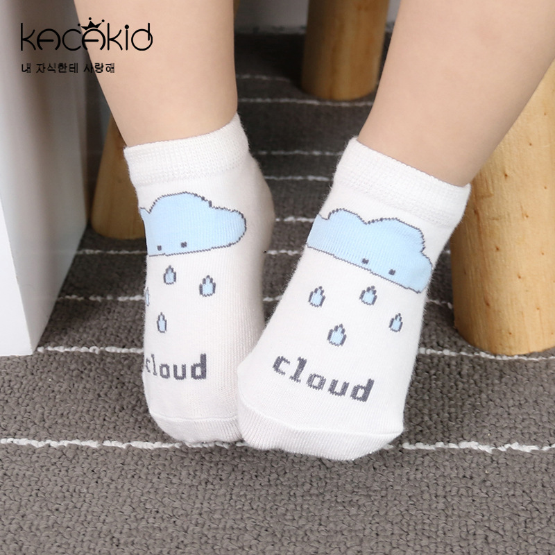 KACAKID Children Socks Cloud Sun Moon Pattern Baby Kid Children Socks Cotton Comfort Anti-slip Infant Children Baby Socks Ka1242