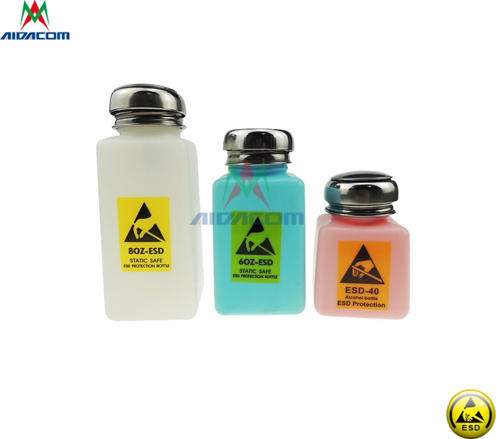 Full Color ESD or Non-ESD Fluid Dispenser 120ML/200ML/250ML 80/60/40Z Solvent Plastic Liquid Alcohol Bottle Stainless Steel Cap 250ml alcohol and liquid container bottle