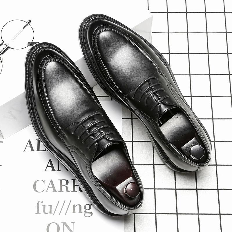 up Se Moda Da Vestem 44 Sapatos Negócios Lace Quente Hard De Apontou Toe Masculinos Coreano Homens Dos wearing Venda brown gray Black Tamanho38 Casuais Couro UpAvwqxA