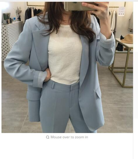 spring new version of the loose in the long section of a button suit suit casual Haren small pants pants two sets of women