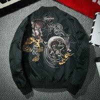 YuWaiJiaRen Japanese Style Tide Brand Embroidery Air Force Pilot Jacket Men Stand Collar Fashion Outwear Winter Bomber Jackets