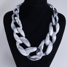 Statement Acrylic Long Chain Link Chunky Choker Necklace Big Collar Pendants Necklaces Ladies Bijoux 2018 Fashion Women Jewelry
