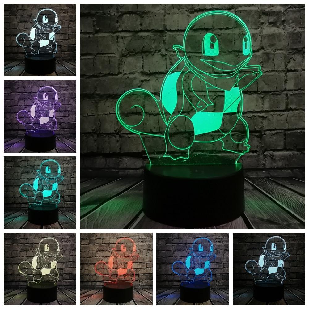 Creative Atmosphere Animal 3D Visual lamp Game Pokemon Go Figure Jenny Tortoise Turtle Led light Table RGB Cartoon kids toys
