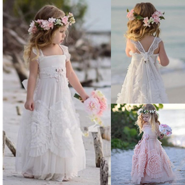 Modern 2019   Flower     Girl     Dresses   for Wedding White Dusty Pink Little   Girl   Boho Kids First Communion   Dress   Pageant Gown 3D Floral