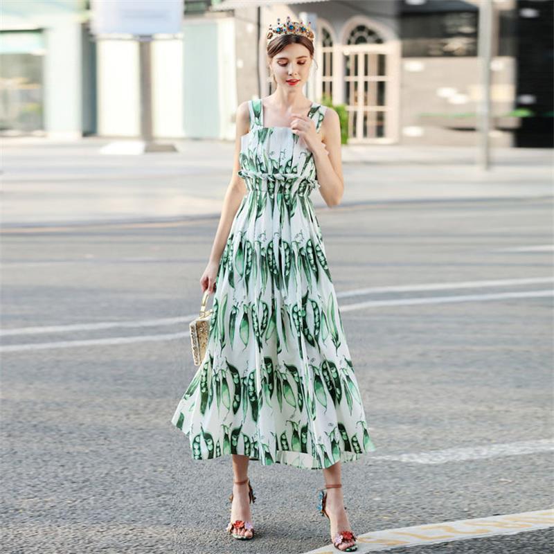 Vestidos de mujer 2019 de alta calidad vestido de diseñador de pasarela cuello cuadrado sin mangas guisante impreso Casual Vestidos NPD0281N-in Vestidos from Ropa de mujer    1