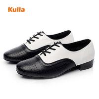 Leather Men's Adult Latin Dance Shoes Black/White Tango/Ballroom Shoes Dancing Men Salsa Rumba Modern Party Shoe Square Heels