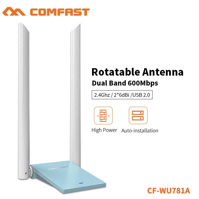 Беспроводной USB-адаптер COMFAST 600 Мбит/с, 2 антенны 6 дБи, Поддержка Windows XP/7/8/8.1/10