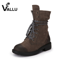 VALLU 2017 Handmade Women Shoes Winter Boots Genuine Leather Lace up Round Toes Women Warm Boots