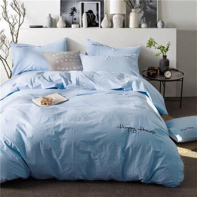 Home Textile Bedding Set Wash 100 Cotton Blue King Duvet Cover Bed Flat Sheet