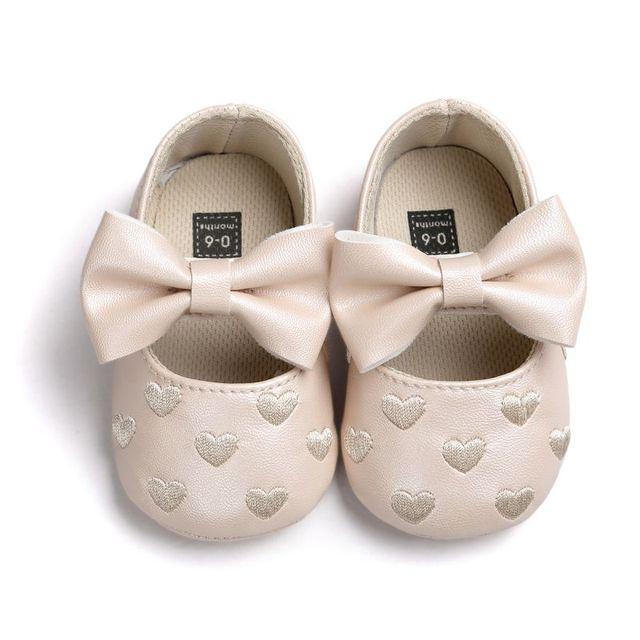 Princess Heart-Shape Big Bow Leather Baby Shoes