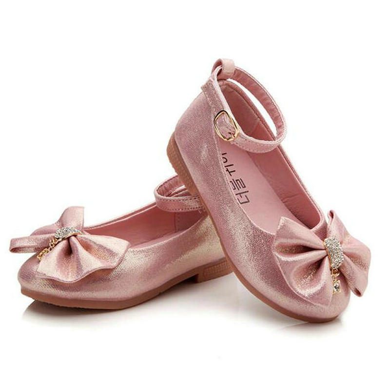 2017 Children Princess Shoes Pink /Gold/Silvers Band Soft Sole PU Leather Fashion Bowknot Rhinestone Flower Girls Dress Shoes