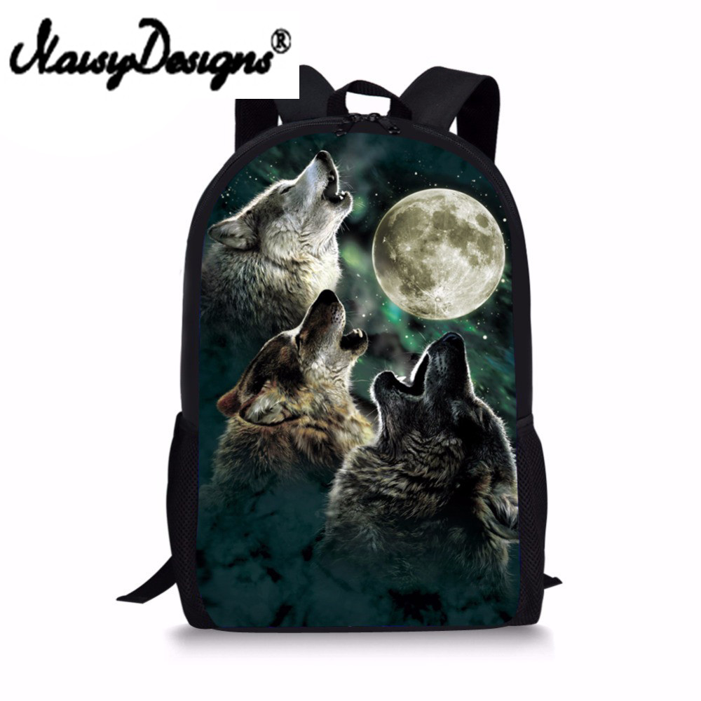 Cool 3D Wolf Moon Backpack for School Children Harness Primary Kids Dinosaur Bagpack Designer Bookbags Polyester