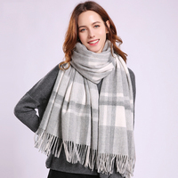 Plaid Wool Scarf For Women Winter Thick Warm Plaid Sheep Wool Shawls Wraps Fashion Large Grey Female Wool Scarves 180x70cm
