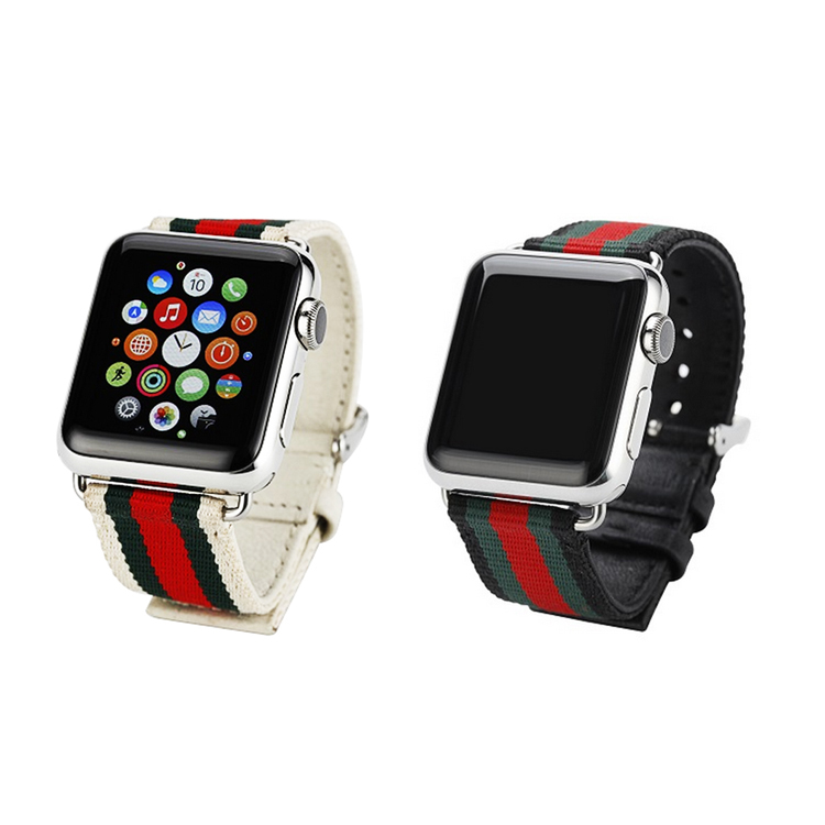 Reloj deportivo correa de reemplazo para Apple Watch 38mm/42mm tejido lona Cuero auténtico reloj