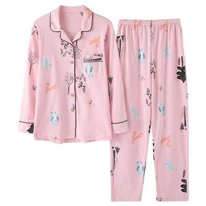 Image 4 - Pyjamas femmes 2018 nouveau printemps coton Pijamas ensemble mignon rose vêtements de nuit de dessin animé Pyjamas pour femmes Pijama Feminino Pyjama 2 pièces/ensemble