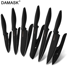 DAMASK Knives Set Utility German Chef Knife Black Steel Cooking Bread Vegetable Slicing With Covers Kitchen Tools