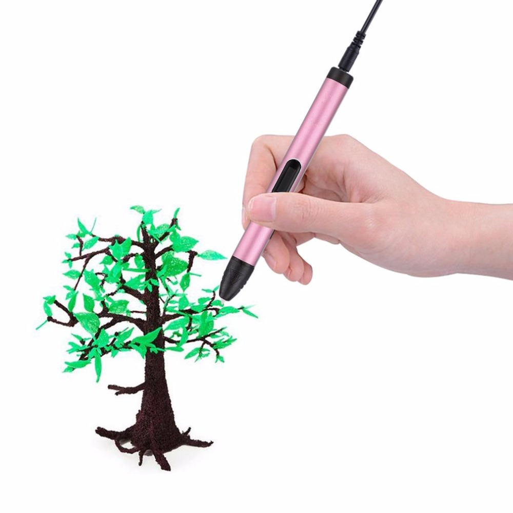 3D Printing Pen Support PLA/ABS Filament 3D Pen Painting Drawing Pen Portable Aluminum High Temperature for Children Kids gift 2016 new white high quality led 3d pen with free abs pla plastic filament 3d printing pen for kid gift 3d drawing and doodling