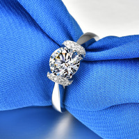 Deluxe 1ct Carat Rings AAAAA High Quality Sona Customized S925 Sterling Sliver Engagement Rings for Women Jewelry