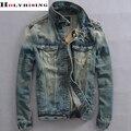 men vintage denim jacket men's short coat Slim Korean men  slim turn down jeans wear male