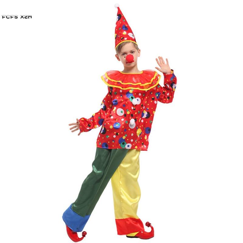 Children Halloween circus clown Costumes for Boys Kids droll Joker Cosplay Carnival Purim Masquerade Festival parade party dress