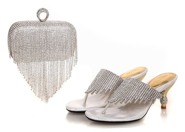 2016 High Quality Nigeria Silver Color Wedding Shoes Italian And Bags Set To Match