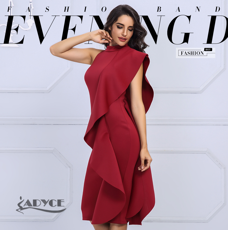 Adyce 19 New Summer White Women Celebrity Party Dress Sexy Wine Red Sleeveless Patchwork Ruffles Bodycon Club Dresses Vestidos 1